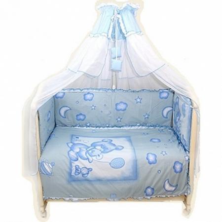 где купить  Постельный сет 7 предметов Bombus Топтышка (голубой)  по лучшей цене