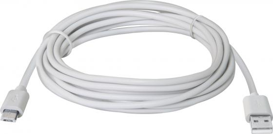 Кабель USB 2.0 AM-microBM 3.0м Defender USB08-10BH белый 87468 кабель usb 2 0 am microbm 1м gembird золотистый металлик cc musbgd1m