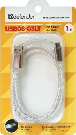 Кабель microUSB 1м Defender USB08-03LT круглый кабель lightning 1м defender ach03 03lt круглый 87553