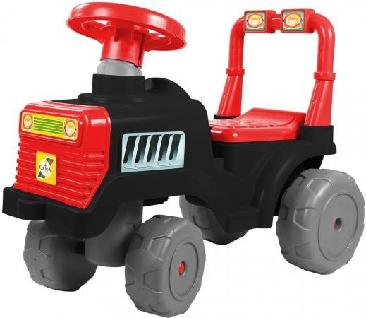 Каталка-трактор R-Toys ОР931к пластик от 10 месяцев на колесах черно-красный