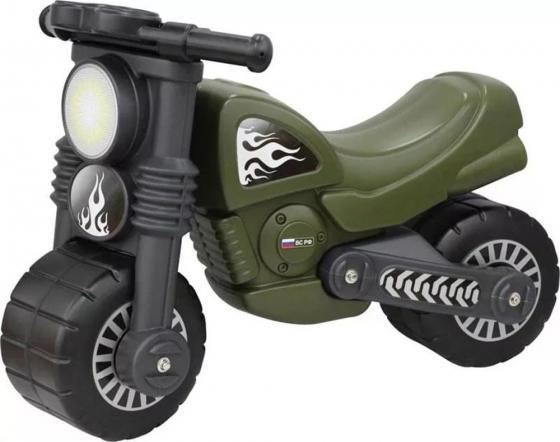 Каталка-мотоцикл Wader Моторбайк военный пластик от 18 месяцев на колесах зеленый 48738