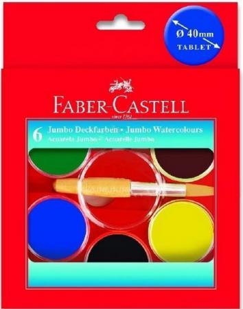 Акварель Faber-Castell Jumbo 6 цветов 125007 акварель faber castell watercolours 2 кисточки диаметр 30 мм 21 цвет 125021