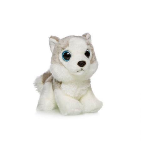 Мягкая игрушка собака MAXITOYS Хаски 18 см белый серый искусственный мех текстиль пластик мягкие игрушки maxitoys собачка зиночка в платье
