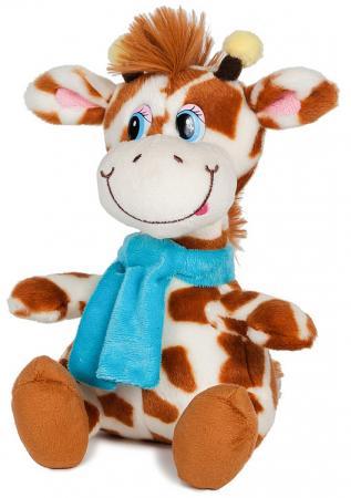 Мягкая игрушка жираф MAXITOYS Димон в шарфике 20 см бежевый искусственный мех озвученный подушки декоративные maxitoys подушка подголовник жираф
