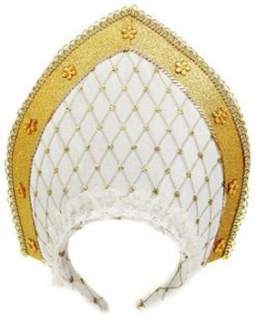 Кокошник Новогодняя сказка бело-золотистый 23х30 см от 3 лет 972398 новогодняя сказка кокошник 23х30 см белый с золотым