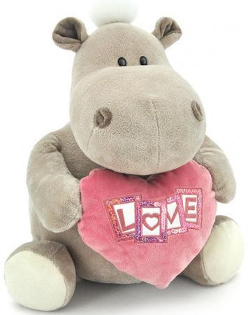 Мягкая игрушка бегемот ORANGE Девочка с сердцем 20 см серый искусственный мех OS090/20B