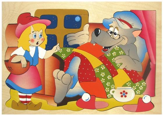 Развивающая игрушка Крона Мозаика-вкладыш дерев. Красная шапочка 143-035 мозайка вкладыш крона попугай 29 деталей деревянная 143 017