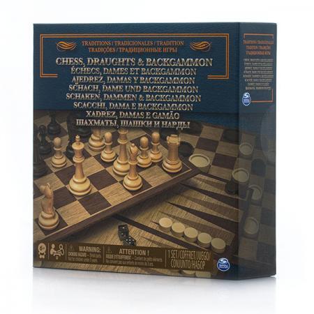Настольная игра набор игр SPIN MASTER 3-в-1 шахматы/ шашки/ нарды настольная игра логическая 3 в 1 шахматы шашки нарды магнитные 3704c