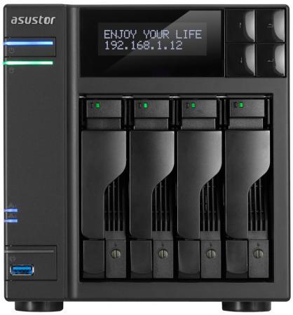 Сетевое хранилище Asustor AS-6204T 4 отсека NAS Celeron 1.6GHz 4Gb DDR3 eSATA 3xUSB3.0 цены онлайн