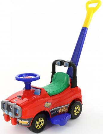 Каталка-машинка Полесье Джип с ручкой и гудком пластик от 1 года на колесах красный 62918 полесье автомобиль каталка джип с ручкой цвет красный