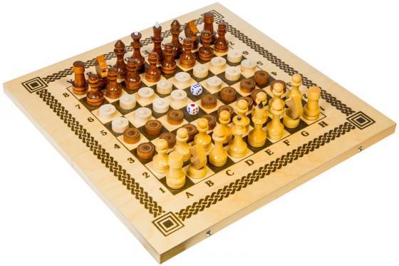 Настольная игра набор игр Шахматы Три в одном (нарды, шашки, шахматы) в ассортименте В-7 настольная игра нарды шахматы нарды малые деревянные в ассортименте в 1