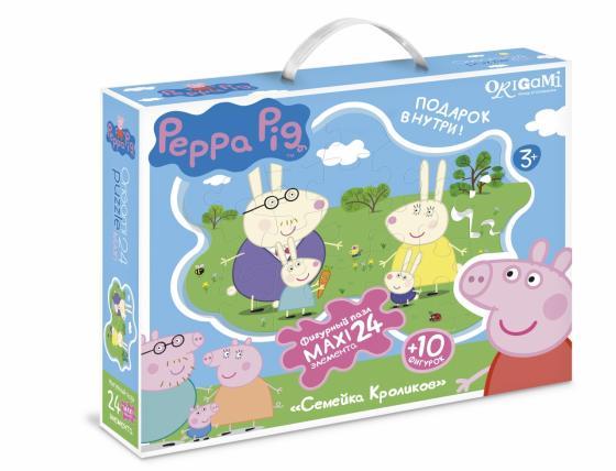 Пазл 24 элемента ОРИГАМИ Peppa Pig Семья кроликов 01538 peppa pig пазл супер макси 24a контурный магниты подставки семья кроликов