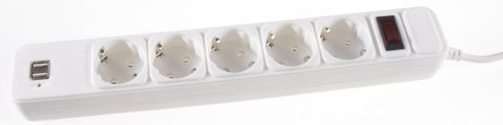 Сетевой фильтр 3Cott 3C-SP1005UW-1.8 5 розеток 1.8 м белый сетевой фильтр 3cott 3c sp1006b 5 0 6 розеток 5 м