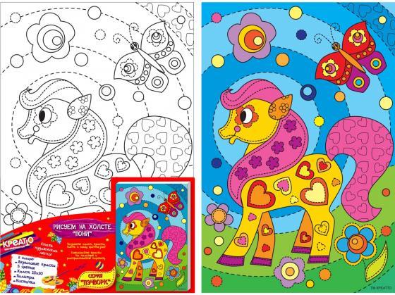 Набор для росписи по холсту Креатто Пони от 3 лет 30171 набор для росписи по холсту креатто лебеди от 3 лет 30895