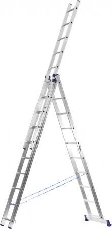 Лестница Сибин универсальная трехсекционная со стабилизатором 10 ступеней 38833-10 лестница трехсекционная сибин 3х9 ступеней 38833 09