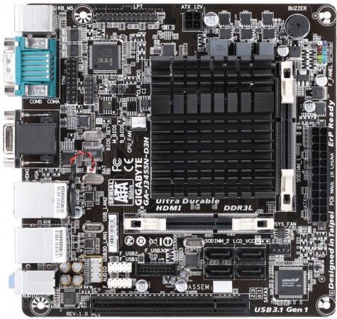 Материнская плата GigaByte GA-J3455N-D3H с процессором Intel J3455 2xSO-DIMM DDR3 1xPCI 4xSATAIII mini-ITX Retail
