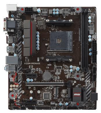 Материнская плата MSI A320M GRENADE Socket AM4 AMD A320 2xDDR4 1xPCI-E 16x 2xPCI-E 1x 4xSATAIII mATX Retail материнская плата asus h81m r c si h81 socket 1150 2xddr3 2xsata3 1xpci e16x 2xusb3 0 d sub dvi vga glan matx