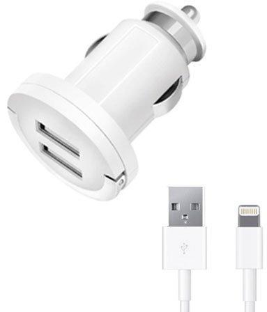 Автомобильное зарядное устройство Deppa 11256 3.4 (1+2.4)A 2 х USB 8-pin Lightning белый deppa ultra usb 1а 8 pin белый