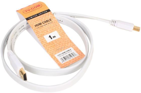 Кабель HDMI 1.0м VCOM Telecom плоский белый CG200FW-1M кабель hdmi vcom cg525dr 1 8m cg525dr 1 8m