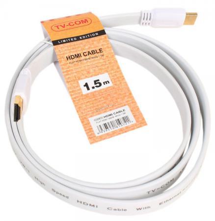 Фото - Кабель HDMI 1.5м VCOM Telecom плоский белый CG200FW-1.5M кабель hdmi micro hdmi 1 8м vcom telecom cg583k 1 8m 6926123462690