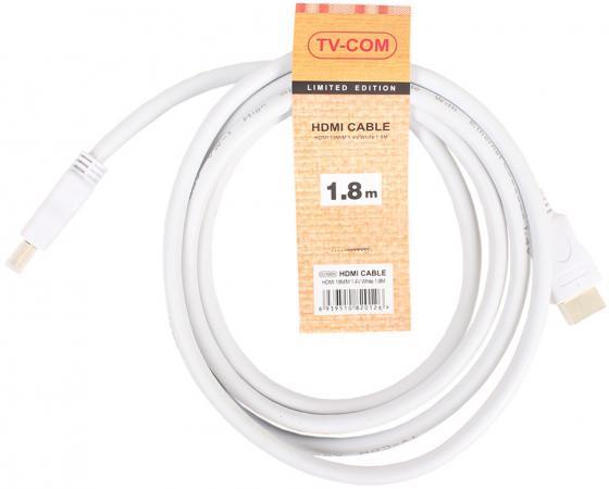 Кабель HDMI 1.8м VCOM Telecom V1.4+3D белый CG150SW-1.8M кабель hdmi vcom cg525dr 1 8m cg525dr 1 8m