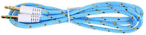 Кабель соединительный 0.75м Belsis 3.5 Jack - 3.5 Jack в нейлоновый оплетке голубой BL1108