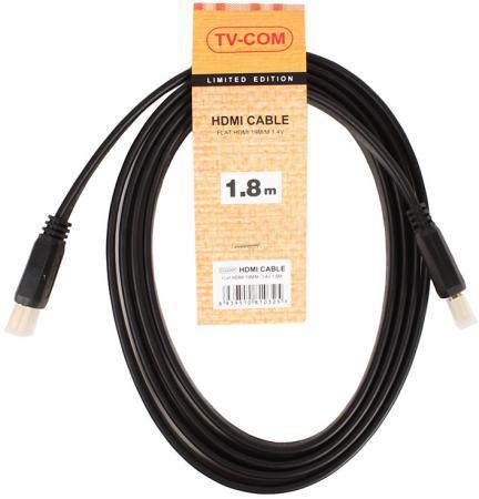 Кабель HDMI 1.8м VCOM Telecom плоский CG200F-1.8M кабель hdmi vcom cg525dr 1 8m cg525dr 1 8m