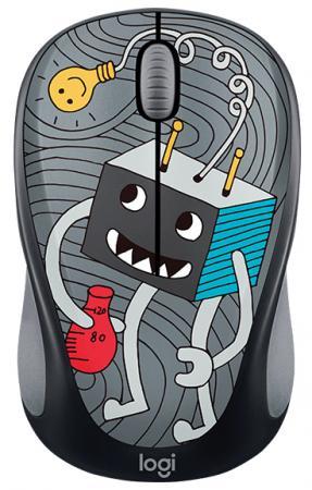 Мышь беспроводная Logitech M238 Doodle Collection чёрный рисунок USB 910-005049 мышь logitech m238 doodle collection skateburger
