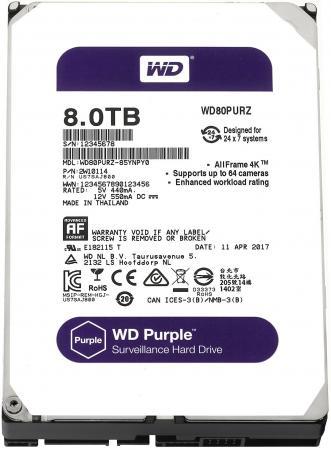 Жесткий диск 3.5 8 Tb 5400rpm 128Mb cache Western Digital Purple SATAIII WD80PURZ жесткий диск 3 5 8 tb 5400rpm 128mb cache western digital purple sataiii wd80purz