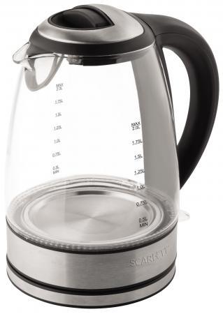 Чайник Scarlett SC-EK27G18 2200 Вт чёрный серебристый 2 л пластик/стекло чайник scarlett sc ek27g18