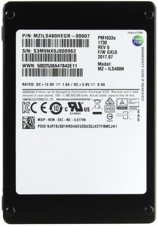 """Жесткий диск 2.5"""" SSD 480Gb Samsung PM1633A SAS MZILS480HEGR-00007 цена 2017"""