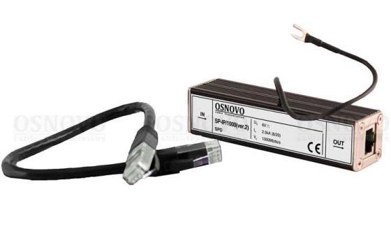 Устройство грозозащиты OSNOVO SP-IP/1000(ver.2) для локальной вычислительной сети скорость до 1000 Мб/сек 1 вход RJ45-мама/1 выход RJ45-мама aileendoll rot ver 2 dangon