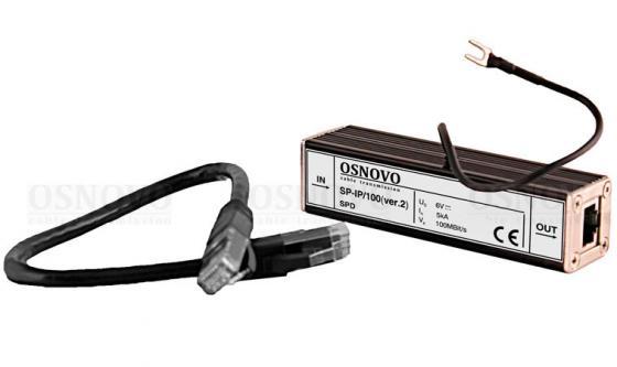 Устройство грозозащиты OSNOVO SP-IP/100(ver.2) для локальной вычислительной сети скорость до 100 Мб/сек 1 вход RJ45-мама/1 выход RJ45-мама aileendoll rot ver 2 dangon