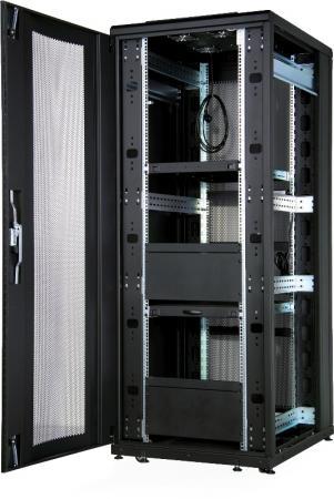 """Шкаф напольный 19"""" 42U Estap CLD70642U6010BF1R1 600x1000mm передняя дверь одностворчатая перфорированная задняя дверь двустворчатая перфорированная черный"""