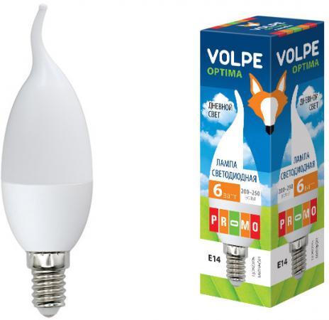 Лампа светодиодная (UL-00001773) E14 6W 3000K свеча на ветру матовая LED-CW37-6W/DW/E14/FR/O лампа светодиодная ul 00000308 e14 6w 3000k свеча на ветру матовая led cw37 6w ww e14 fr o volpe 1154113