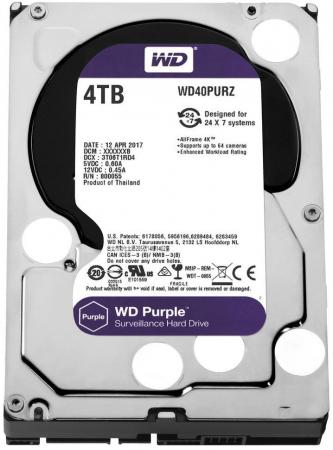 Жесткий диск 3.5 4 Tb 5400rpm 64Mb cache Western Digital Purple SATAIII WD40PURZ жесткий диск 3 5 3 tb 5400rpm 64mb cache western digital purple sataiii wd30purz