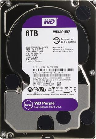 Жесткий диск 3.5 6 Tb 5400rpm 64Mb cache Western Digital Purple SATAIII WD60PURZ жесткий диск 3 5 3 tb 5400rpm 64mb cache western digital purple sataiii wd30purz