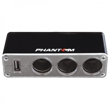 Разветвитель прикуривателя Phantom PH2151 880501 разветвитель розетки прикуривателя phantom ph2152 [880502]