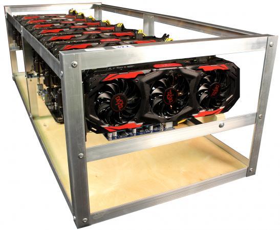 Персональный компьютер / ферма 8192Mb PALIT Gamerock GTX 1080 x6 /Intel Celeron G3900 2.8GHz / ASUS Z170-E /DDR4 4Gb PC4-17000 2133MHz /SSD 120Gb /ATX 650Вт x3 (№76)