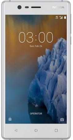 Смартфон NOKIA 3 серебристый белый 5 16 Гб LTE Wi-Fi GPS 3G 11NE1S01A09 смартфон alcatel 1x 5059d серый 5 3 16 гб lte wi fi gps 3g 5059d 2aalru1