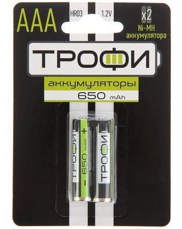 Батарейки ТРОФИ 650mAh HR03-2BL 2 шт батарейки d lr20 4шт трофи щелочные