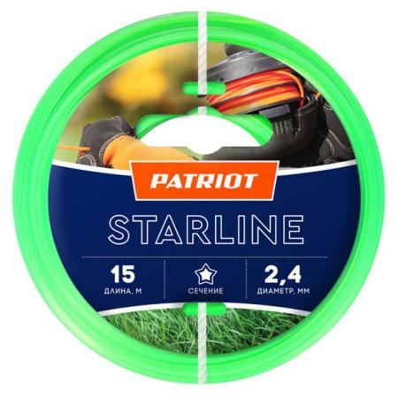 Леска Patriot Starline d2.4мм L15м 805201061 леска для триммера patriot starline 1 6mm x 15m 805205007