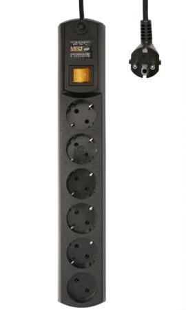 Сетевой фильтр MOST HPW 5М ЧЕР 6 розеток 5 м черный сетевой фильтр most hpw 5м черный [hpw 5м чер]