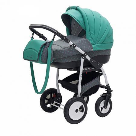 Коляска 2-в-1 Polmobil Porto Lux (06 зеленый-серый) коляска indiana 17 len 2в1 smile line il 06 зеленый св серый