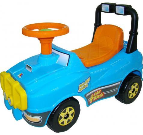 Каталка-машинка Полесье Джип пластик от 1 года с гудком голубой 62840 каталка на шнурке mapacha божья коровка полесье от 1 года красный пластик на колесах