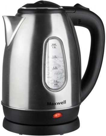 лучшая цена Чайник Maxwell MW-1082(ST) 1850 Вт серебристый чёрный 1.8 л металл/пластик