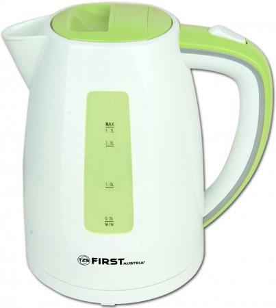 Чайник First FA-5427-7 2200 Вт белый зелёный 1.7 л пластик чайник first fa 5406 2200 вт чёрный 1 7 л пластик стекло
