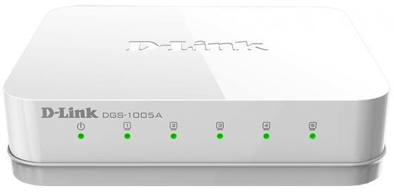 Коммутатор D-LINK DGS-1005A/D1A неуправляемый 5 портов 10/100/1000Mbps