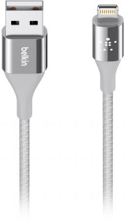 Кабель Belkin F8J207bt04-SLV Lightning to USB 1.2m серебристый кабель belkin f8j148bt04 wht lightning to usb 1 2m белый