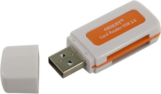 Картридер внешний ORIENT CR-011R SDHC/SDXC/microSD/MMC/MS/MS Duo/M2 USB 2.0 белый картридер orient cr 011g